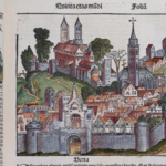 A woodcut image labeled Bena? from the Nuremberg Chronicle, which is the same woodcut as several other woodcuts