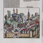 A woodcut image labeled Damascus from the Nuremberg Chronicle, which is the same woodcut as several other woodcuts