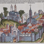 A woodcut image labeled as Macedonia from the Nuremberg Chronicle, which is the same woodcut as several other woodcuts