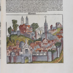 A woodcut image labeled Mantua from the Nuremberg Chronicle, which is the same woodcut as several other woodcuts
