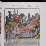 A woodcut image labeled Napoli from the Nuremberg Chronicle, which is the same woodcut as several other woodcuts