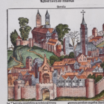 A woodcut image labeled Perugia from the Nuremberg Chronicle, which is the same woodcut as several other woodcuts