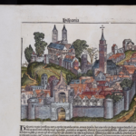 A woodcut image labeled as Spain from the Nuremberg Chronicle, which is the same woodcut as several other woodcuts
