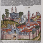 A woodcut image labeled as a German province from the Nuremberg Chronicle, which is the same woodcut as several other woodcuts
